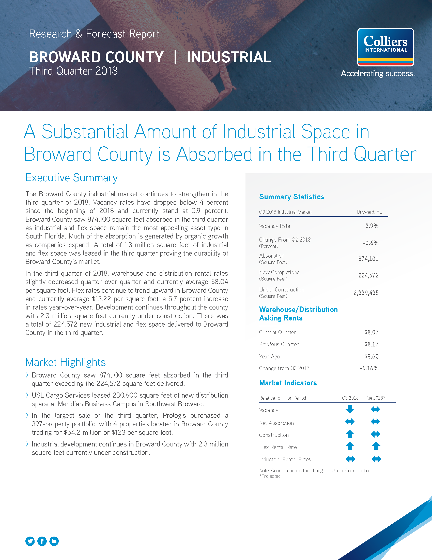 Broward Industrial Market Report - 3Q18_Page_1